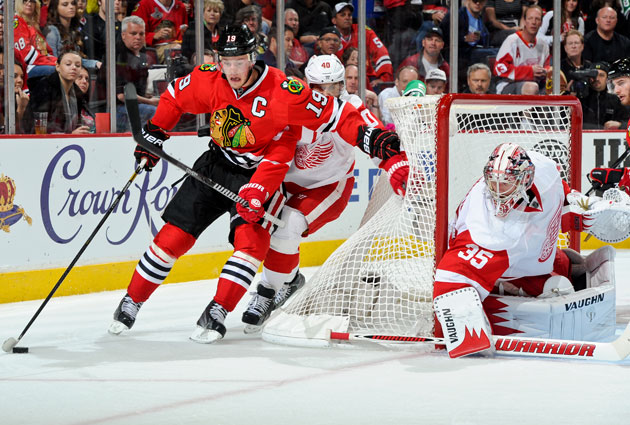 Jonathan Toews has had Henrik Zetterberg on his hip. (Getty Images)