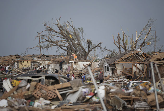 The devastation left behind by the tornadoes to rip through OKC. (Getty Images)