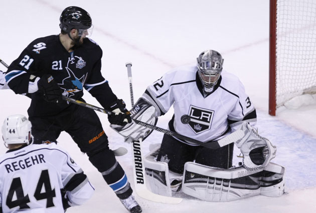 TJ Galiardi isn't fond of Jonathan Quick's antics in the crease. (USATSI)