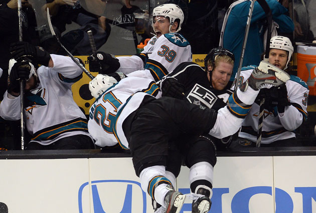 LA and San Jose collide again, but Logan Couture would appreciate it if it stays on the ice. (USATSI)