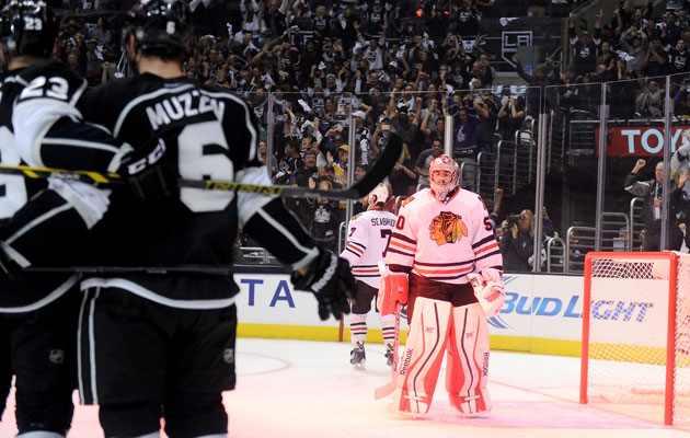 LA made life tough on Corey Crawford and Chicago's D. (Getty Images)
