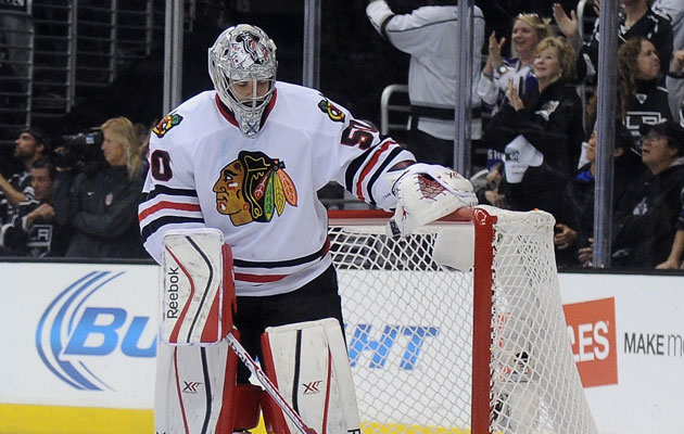 Corey Crawford had a rough couple games in LA. (Getty Images)