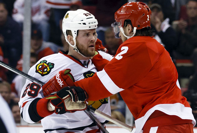 The Blackhawks' Bryan Bickell has been a thorn in Brendan Smith's side. (USATSI)