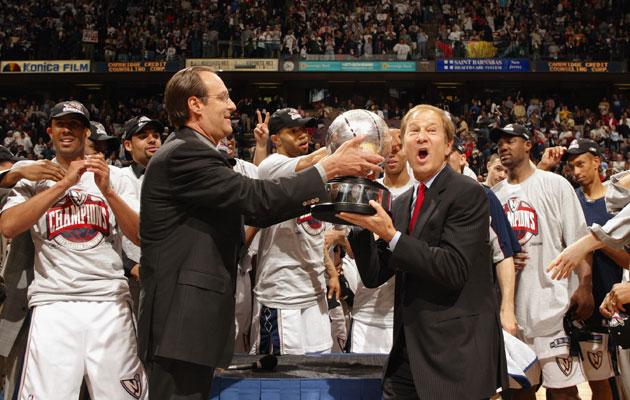 cf5eac041a64 Lewis Katz receives the NBA s Eastern Conference champs trophy in 2003.  (Getty Images)
