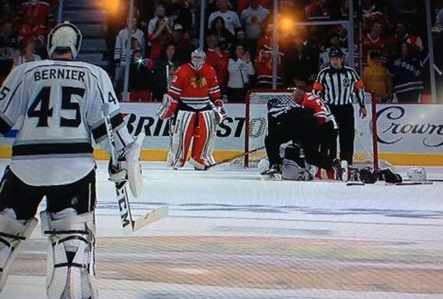 Bernier looks the length of the ice at Crawford. (@aaronward_nhl)
