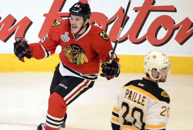 Andrew Shaw celebrates his goal in the third overtime for Chicago. (USATSI)
