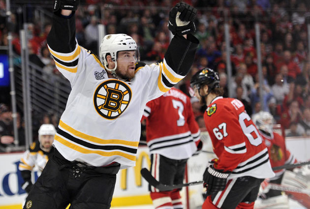 Daniel Paille celebrates his goal that completes Boston's Game 2 comeback. (USATSI)