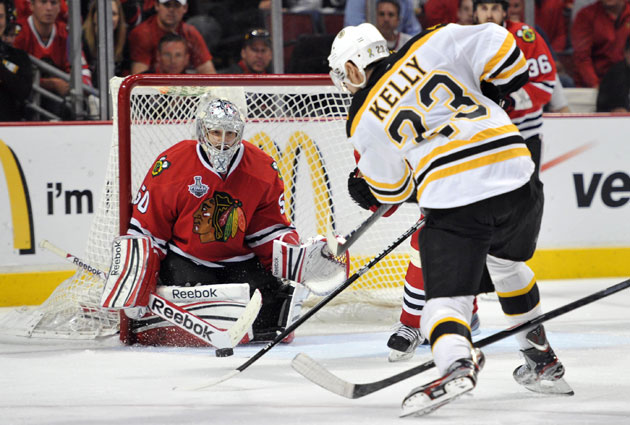 Corey Crawford and the B's third line will be keys to watch in Game 3. (USATSI)