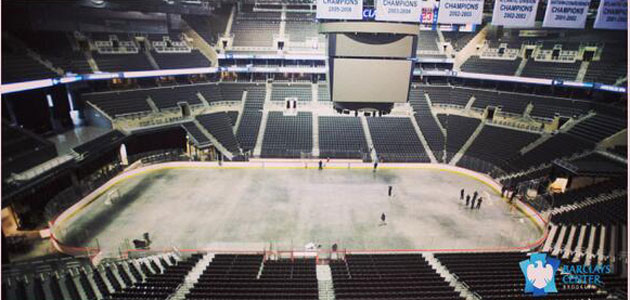 The rink layout at Barclay's Center is taking shape. (USATSI)