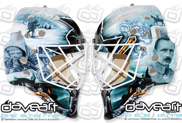 A profile  view of Antti Niemi's new mask for next season. (DaveArt.com)