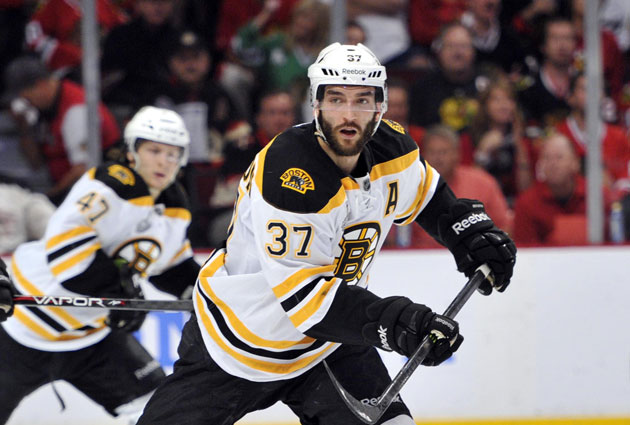 Patrice Bergeron didn't skate Monday morning but will be in warmups. (USATSI)