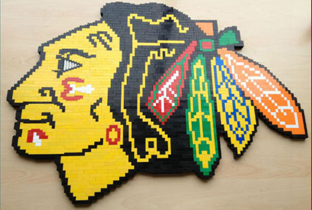 A Blackhawks logo made entirely out of LEGOs. (NBC Chicago)