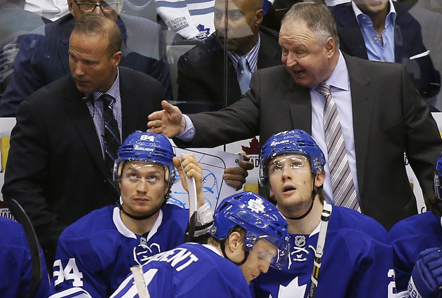 Mikhail Grabovski (lower left) wasn't thrilled with Randy Carlyle. (USATSI)