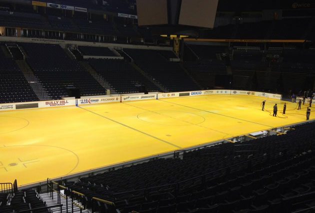 PHOTO: Nashville ice painted Predators gold for summer