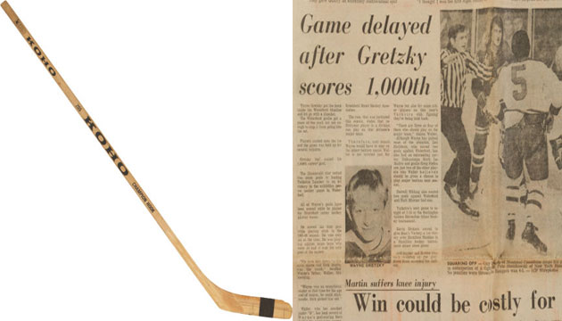 Wayne Gretzky's stick used to score his 1,000th goal is up for bids. (Heritage Auctoins)
