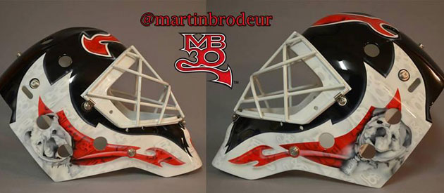 Martin Brodeur's mask for next season with his pups on the sides. (USATSI)