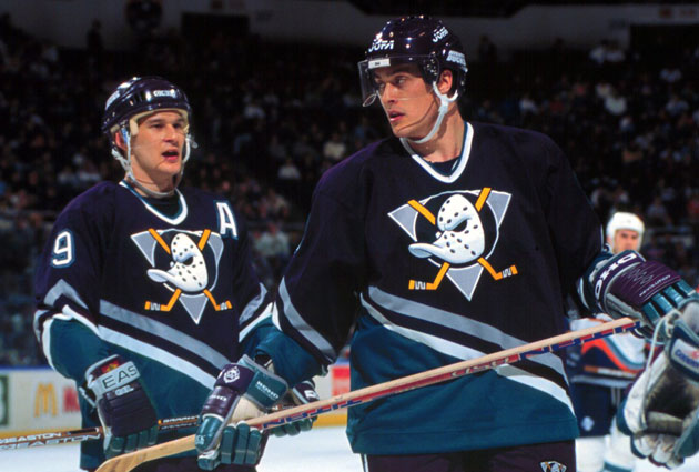 Paul Kariya and Teemu Selanne take the two spots on the wings. (Getty Images)