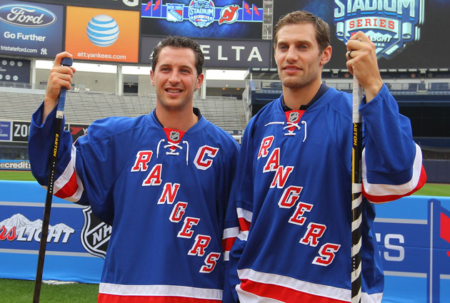 Ryan Callahan and Dan Girardi at Yankee Stadium on Thursday. (USATSI)