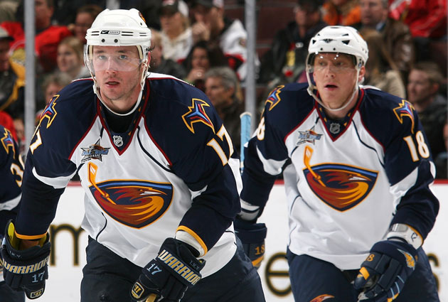 Ilya Kovalchuk and Marian Hossa were a pretty dynamic duo in Atlanta. (Getty Images)