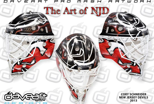 Schneider's new mask for his new team in New Jersey. (DaveArt.com)
