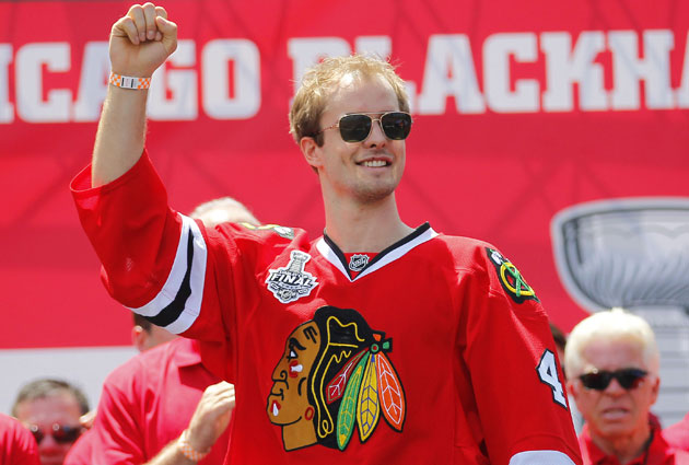 Hjalmarsson had two goals and eight assists last season for Chicago. (USATSI)