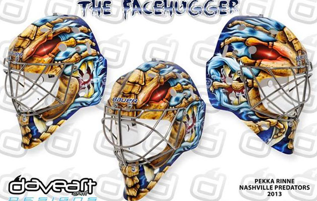 Rinne's new mask as designed by Dave Gunnarsson. (DaveArt)