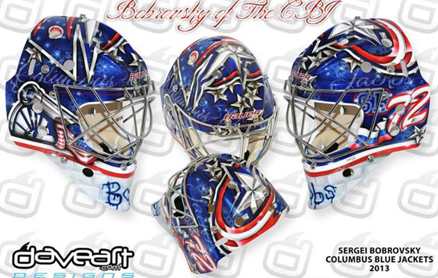 Bobrovsky's mask for next season honors his team and his country. (DaveArt)