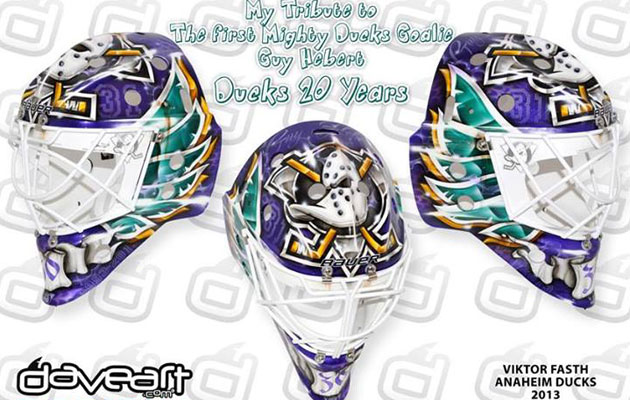 Fasth's throwback mask is an updated version of Guy Hebert's bucket. (DaveArt)