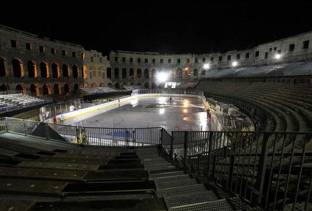 Image result for roman coliseum hockey game outside