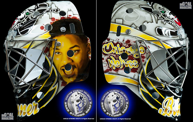 Jordan Binnington has a pretty fresh mask this season. (InGoal Mag)