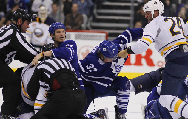 Yes, that is Clarkson in the middle of the fight on Sunday night. (USATSI)