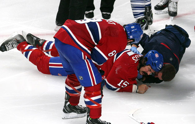Parros was taken to the hospital after hitting the ice face first. (USATSI)