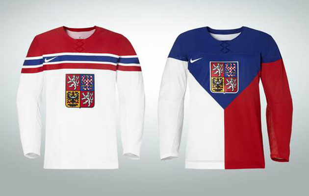 The Czech Republic has the familiar faux laces on their sweaters. (@bartic63)