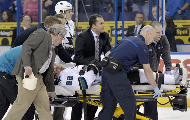 Boyle was carted off the ice and taken to a St. Louis hospital. (USATSI)