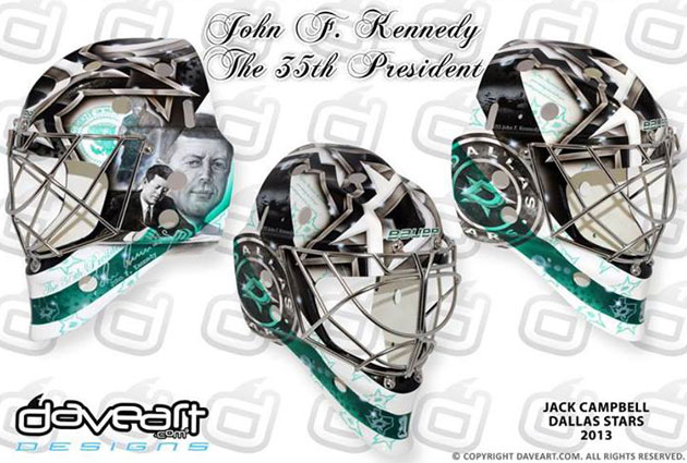 Campbell's mask with Dallas features one JFK. (DaveArt.com)