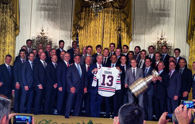 President Obama and the Hawks pose at the White House on Monday. (Blackhawks Instagram)