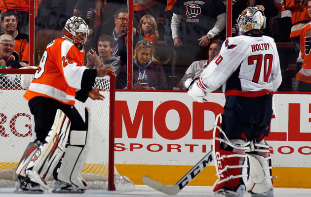 Emery goads an unwilling Holtby into a fight on Friday. (Getty Images)