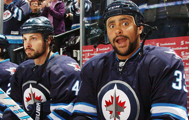 Bogosian's and Byfuglien's slow starts haven't brought Big Buff down. (Getty Images)