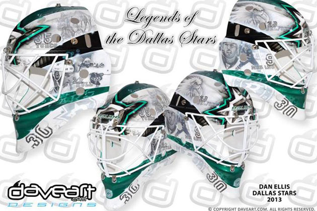 Ellis' mask looks back at the great moments in franchise history. (DaveArt.com)