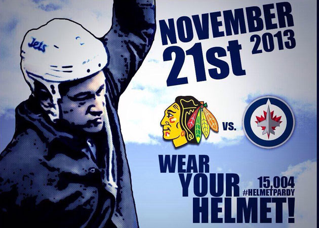 The #HelmetPardy was planned for Thursday night. (@MTSCentreChants)