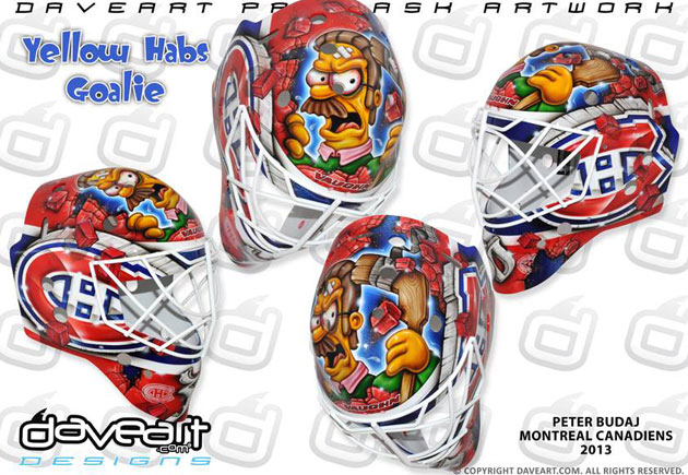 Ned Flanders is back on Budaj's mask, and he's mad. (DaveArt.com)