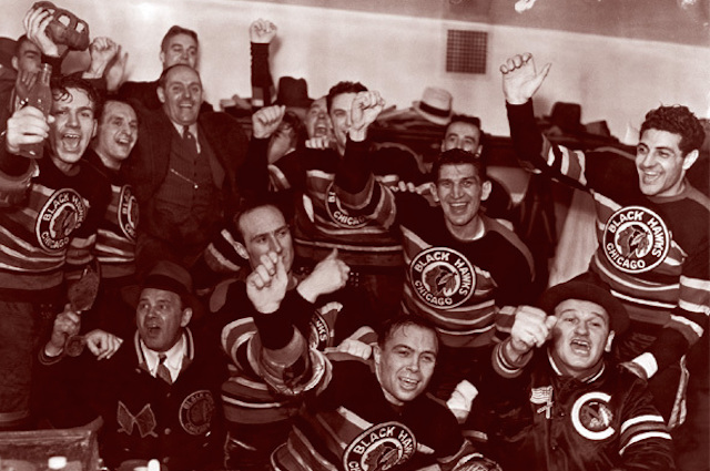The 1938 Chicago Blackhawks celebrate their Cup win. Not pictured: The Cup (Chicago Blackhawks)