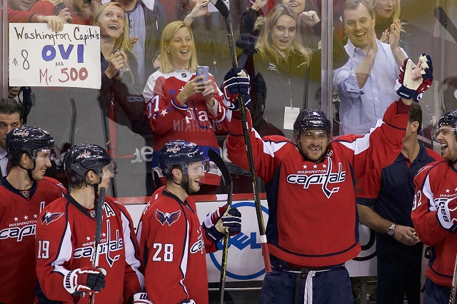 Alex Ovechkin takes a bow after scoring his 500th NHL goal. (USATSI)