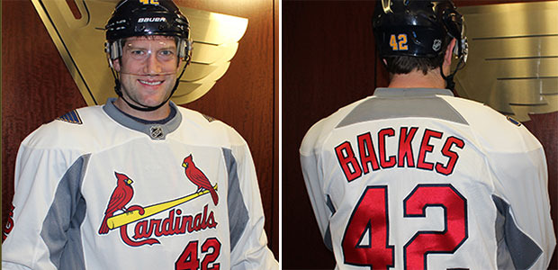 quality design 4fb81 23b2c LOOK: Blues to wear Cardinals jerseys during pregame warmups ...