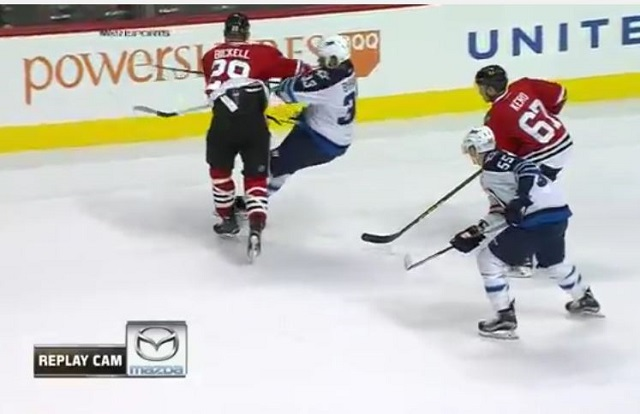 brand new f9456 39fe5 WATCH: Blackhawks' Bryan Bickell crushes Jets' Dustin ...