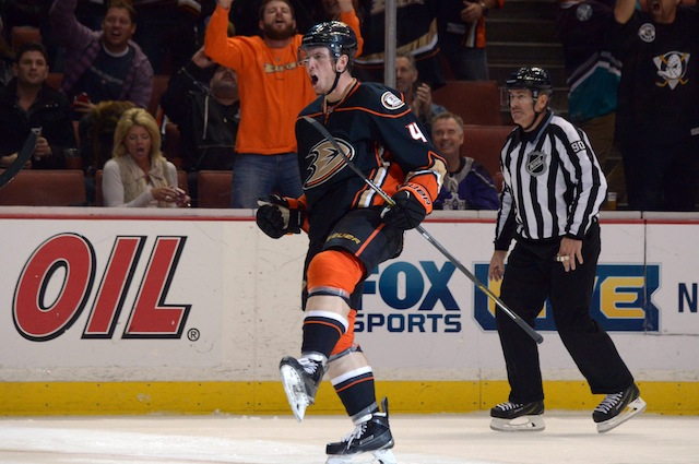 b95ea8b37 Cam Fowler celebrated his game-tying goal for the Anaheim Ducks by taking a  fall