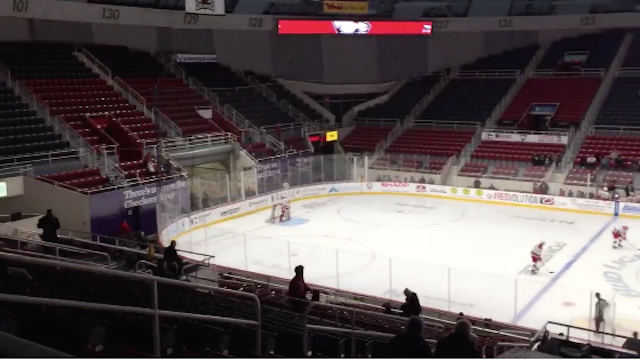 A hockey game in front of no fans. (Charlotte Checkers)