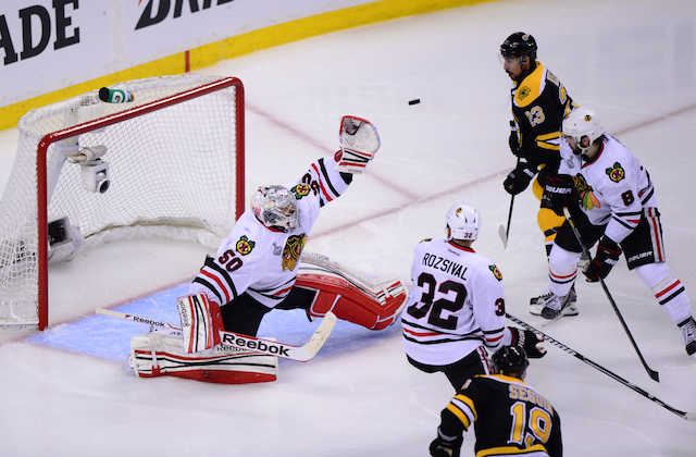 Did the Bruins expose a weakness in Corey Crawford's game? (USATSI)