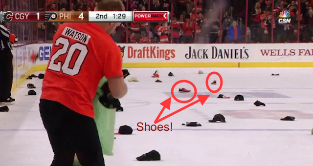LOOK  Somebody threw their shoes after Brayden Schenn s hat trick ... 9a2beb72590