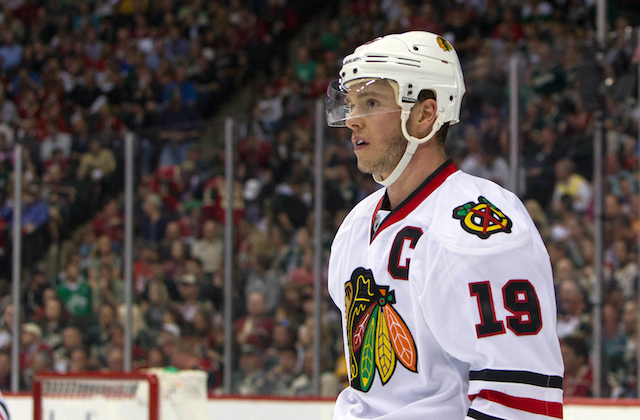 Jonathan Toews doesn't have a goal yet this postseason, but he's still playing well. (USATSI)